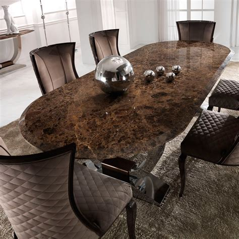 luxury italian brown marble oval dining set juliettes