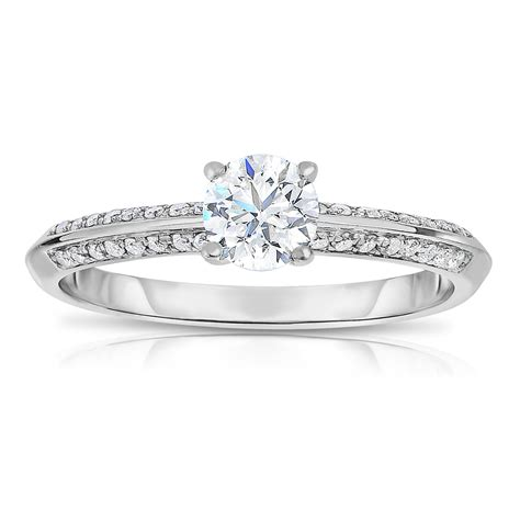 half carat unique engagement ring in white
