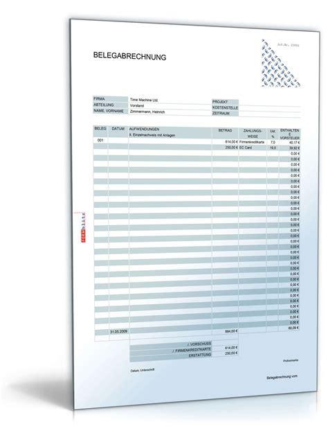 Muster Formular Reisekostenabrechnung Belegabrechnung Ohne Reisekosten Muster Zum