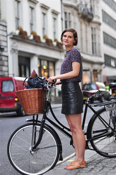 leather bike little bit of leather skirt bike chic in london fashion