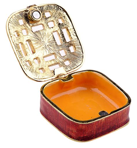 Trinket Box Necklace Kalung Fashion square jewelry box enamelled trinket box jewelry incl