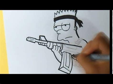 imagenes chidas y faciles para dibujar c 243 mo dibujar a bart simpsons rambo graffiti zaxx