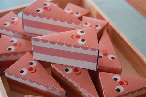 Paper Birthday Cake Craft - cake slice treat boxes paper craft diy my paper crane