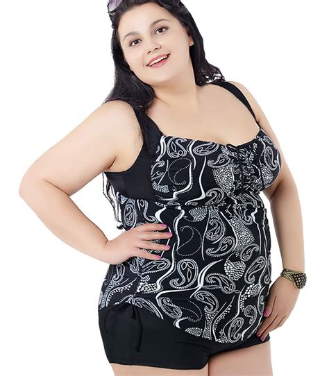 7 Gorgeous Plus Size Swimsuits by Plus Size Big And Beautiful Womens Retro Printed Top High