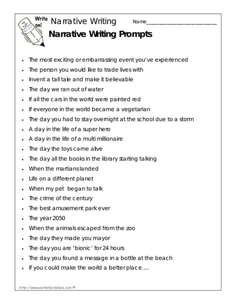 Topics To Write A Narrative Essay About by Narrative Writing Prompts