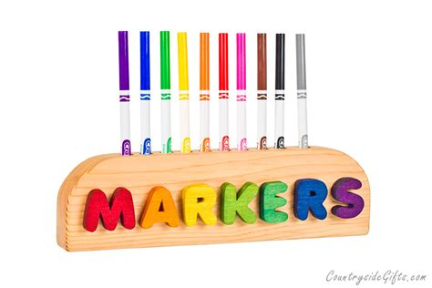 colored markers wooden 10ct thin colored marker holder countryside gifts