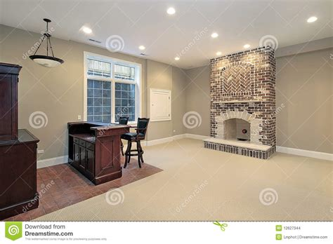 Rochester Home Remodeling Design by Basement With Brick Fireplace Stock Photo Image 12627344
