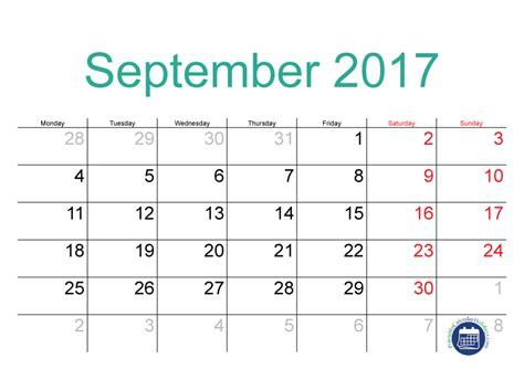 Calendar 2017 August And September Printable 2017 September Calendar Printable Printable 2017 Calendar