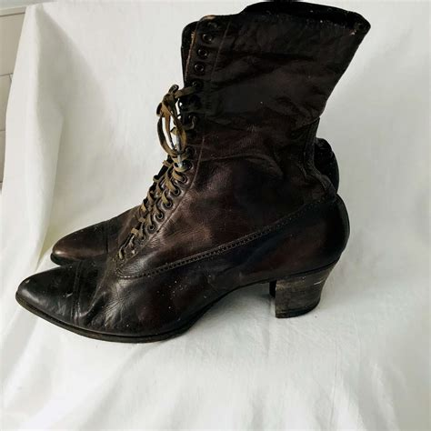 antique late  womens lace  boots museum
