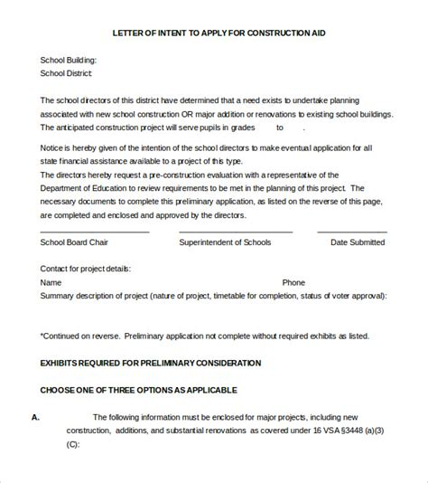Sle Letter Of Intent To Finance A Project 17 free letter of intent templates free sle exle