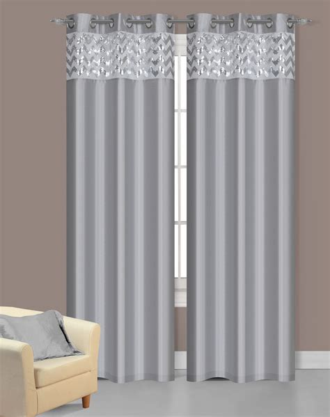 Silver Curtains Pair Of Sparkle Silver Faux Silk Window Curtain Panels W