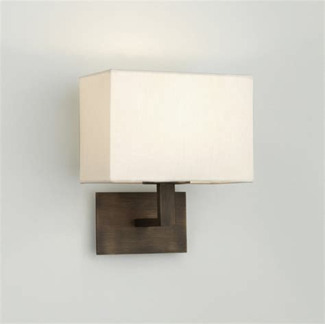 Fabric L Shades For Wall Lights by Connaught 0500 Bronze Wall Light With White Fabric Shade