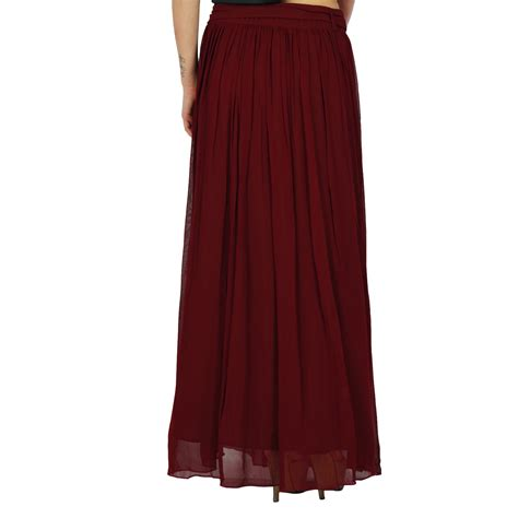 bimba maroon maxi skirt tulip style georgette