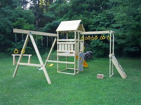 menards wooden swing sets building a playstar contender play set musings from