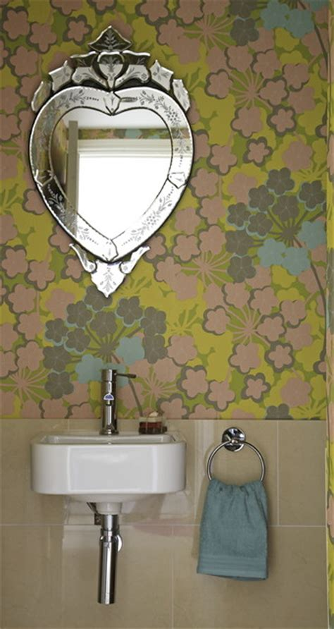 funky mirrors for bathrooms funky wallpapered bathroom contemporary bathroom
