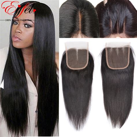 human hair lace closure brazilian straight lace closure bleached knots 4x4 inch