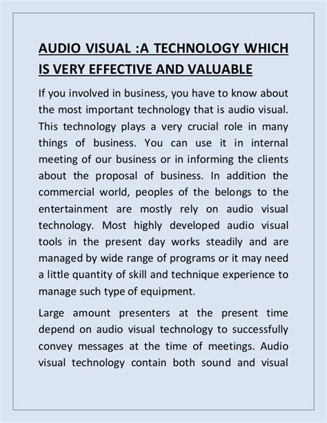 Audio Visual Education Essay by Audio Visual Technology