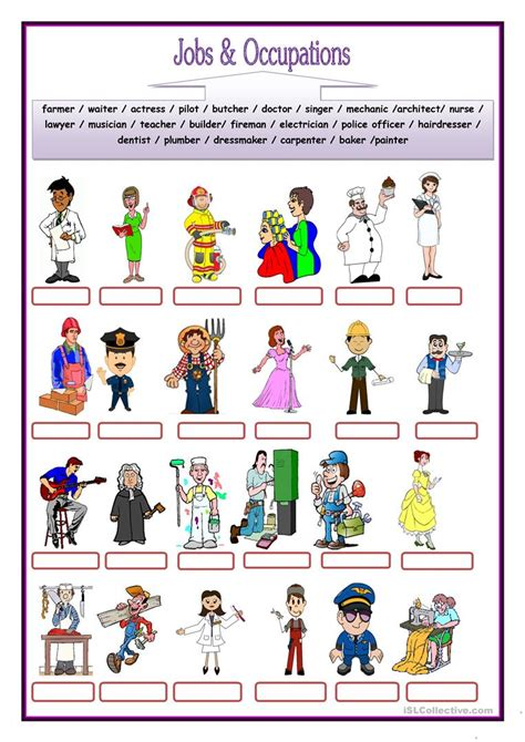 free printable english worksheets occupations free esl occupation worksheets for first grade free best