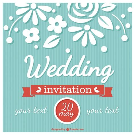 flower wedding card retro style vector free