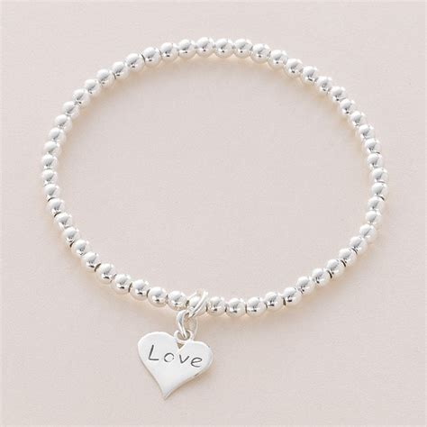 silver bead bracelet uk silver bead stacking bracelet with charm charming engraving