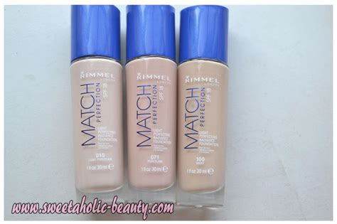 Rimmel Match Foundation sweetaholic rimmel match perfection foundation makeup swatches