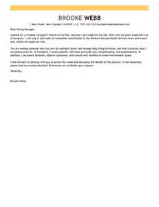 Caregiver Cover Letter by Leading Professional Caregiver Cover Letter Exles Resources Myperfectcoverletter