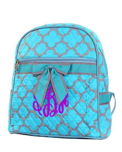Personalized Quilted by Personalized Quilted Geometric Backpack With Bow Large