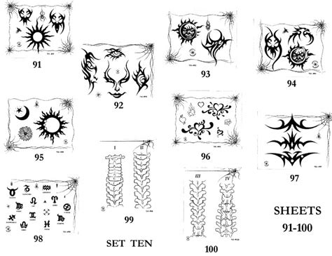 modern tattoo flash tattoo design sheets