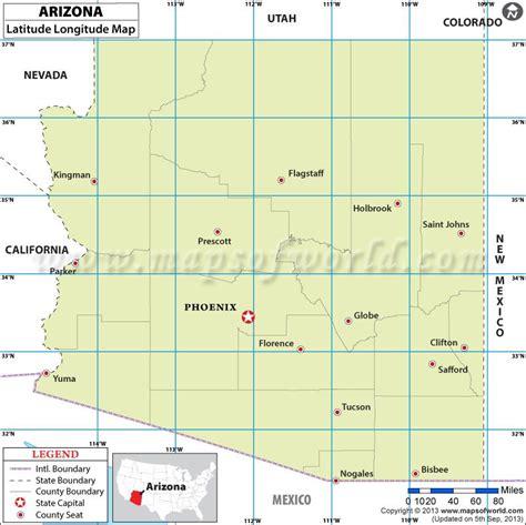 latitude map usa arizona latitude and longitude map