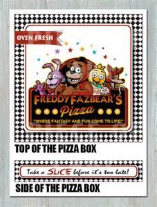 Five night s at freddy s pizza box printable birthday bridal