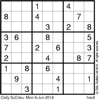 printable sudoku daily daily sudoku mon 6 jun 2016