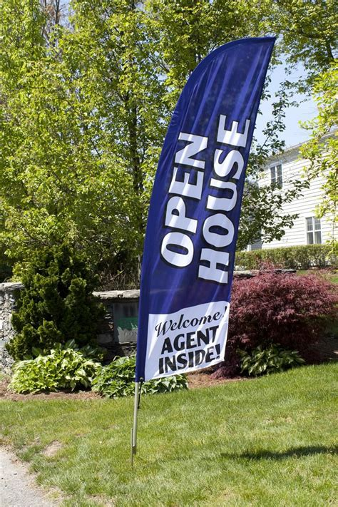 real estate feather flag  ground spike open house message blue open house open house