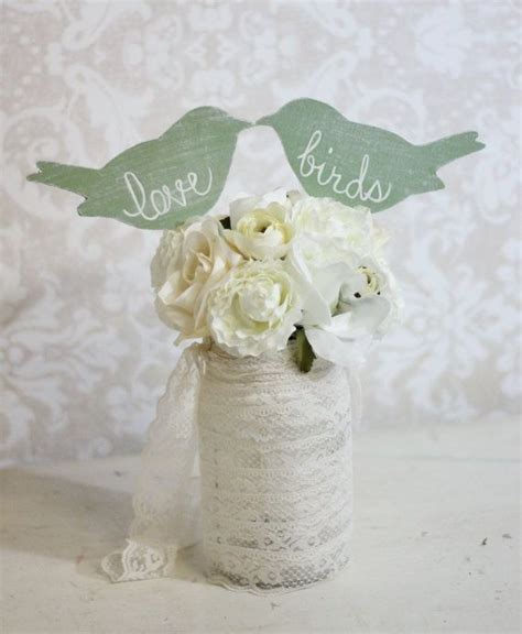 wedding cake topper love birds shabby chic wedding decor item p106031 28 50 via etsy