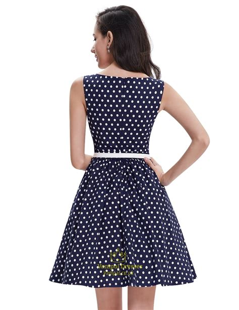 Navy Polka Dress navy polka dot fit and flare shift summer dress with white