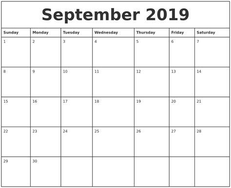 printable monthly calendar 2019 september 2019 printable monthly calendar