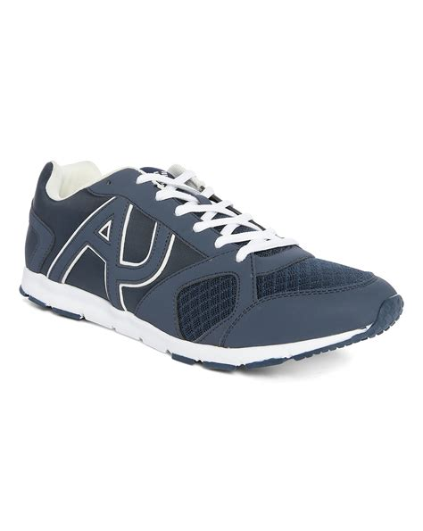 logo athletic shoes armani navy aj ultra light white logo running shoes