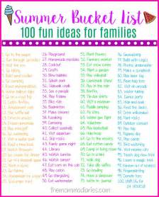 ideas for families summer list 100 ideas for families the