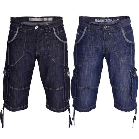 Summer Shorts by Mens Crosshatch Designer Denim Summer Shorts Combat