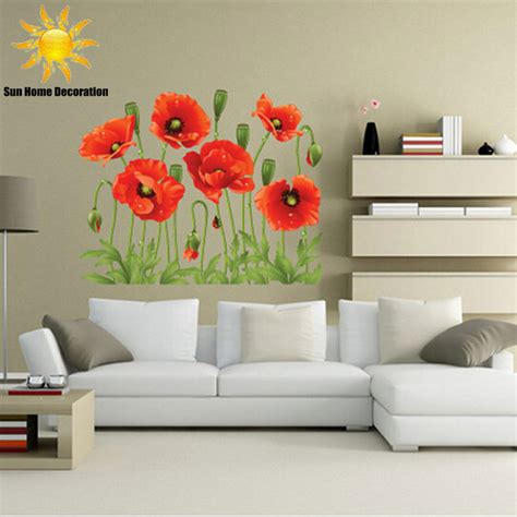 removable wall mural aliexpress buy new poppy removable wall stickers home decor flower vinyl mural