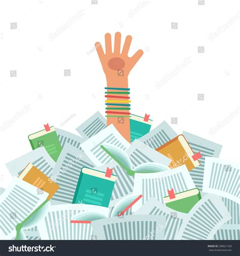 drowning in books pile books overwhelmed student much study stock vector