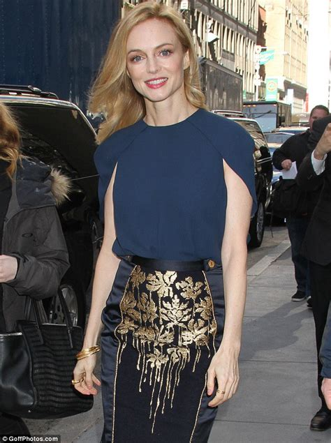 heather graham steps out in orange mini dress after