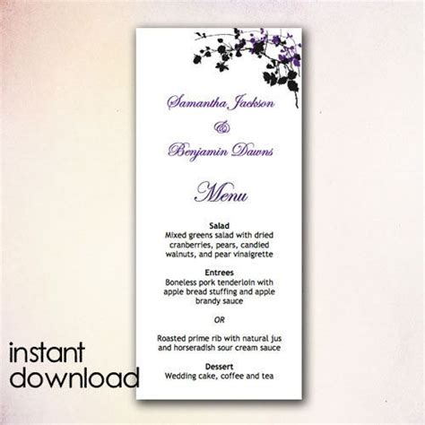 Wedding Menu Template Microsoft Word diy wedding menu template instant microsoft