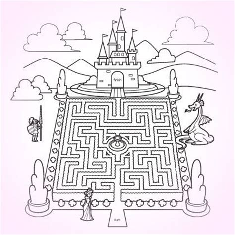 princess maze coloring page coloring pages for kids kleuring doolhof en voor kinderen