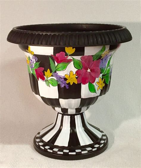 painted urn planter whimsical painted planter urn