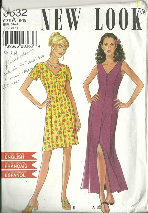 New Look Sz 36 new look sewing pattern 6632 misses womens dress in 2 lengths sz 8 10 12 14 used sewing patterns
