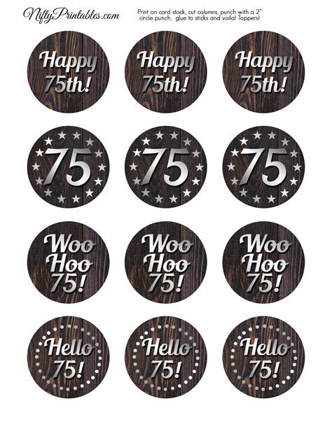 75th Birthday Cupcake Toppers   Rustic Wood   Nifty Printables