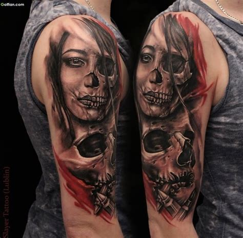 half woman half skull tattoo designs 60 mind boggling 3d arm tattoos designs and ideas