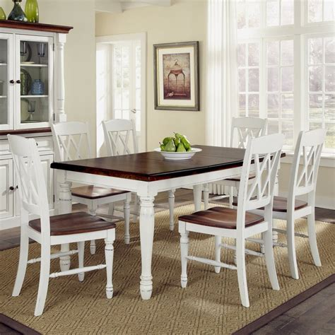 shop home styles monarch white oak 7 dining set with dining table at lowes
