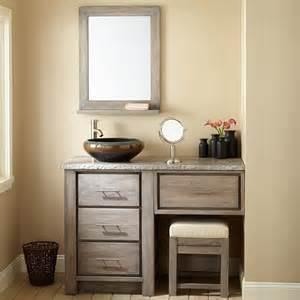 Makeup Vanity Gray 48 Quot Venica Teak Vessel Sink Vanity With Makeup Area Gray