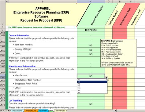 Apparel Enterprise Resource Planning Software Selection Erp Evaluation Template